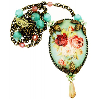 Michal Negrin Antique Roses Cabochon Cameo Necklace