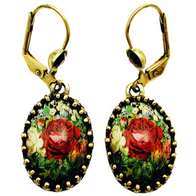 Michal Negrin Antique Roses Cabochon Cameo Earrings