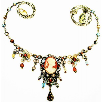 Michal Negrin Victorian Cameo Crystals Necklace