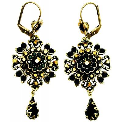 Michal Negrin Black Bronze Oriental Earrings