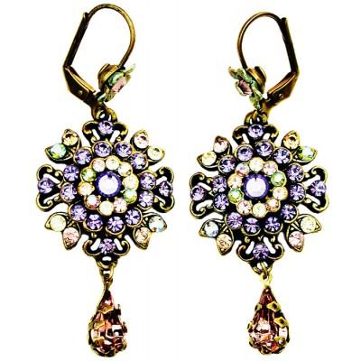 Michal Negrin Purple Green Peach Oriental Earrings
