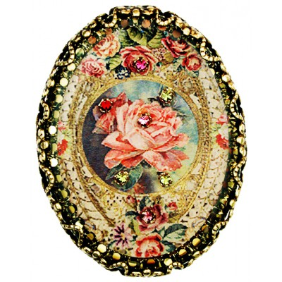 Michal Negrin Antique Rose Cameo Oval Brooch
