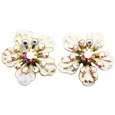 Michal Negrin White Anemone Stud Earrings