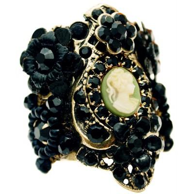Michal Negrin Black Cameo Cuff Ring