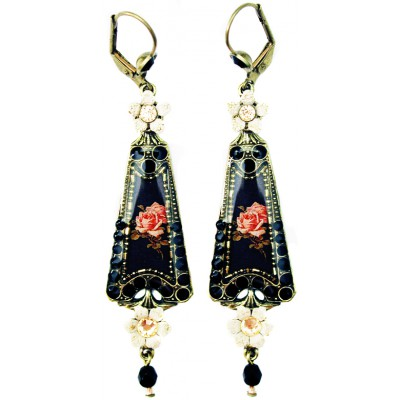 Michal Negrin Black Cream Roses Triangle Earrings