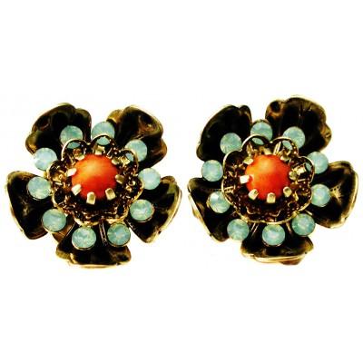 Michal Negrin Sea Green Coral Wild Flower Clip Earrings