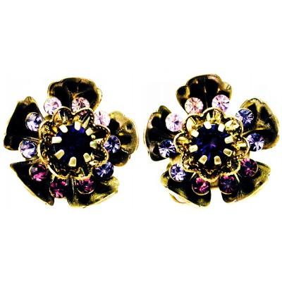 Michal Negrin Purple Wild Flower Clip Earrings
