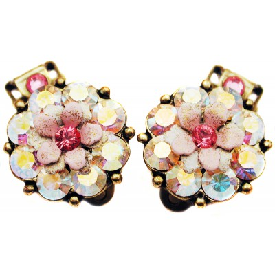 Michal Negrin Pink Aurora Borealis Crystals Clip Earrings