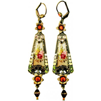 Michal Negrin Autumn Roses Triangle Earrings