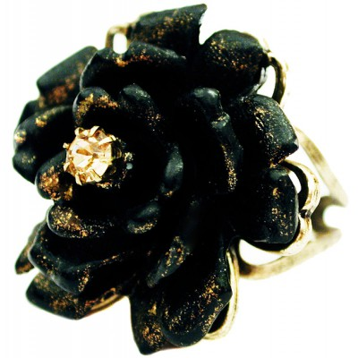 Michal Negrin Black Peach Large Rose Ring