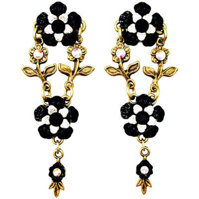 Michal Negrin Black White Floral Post Earrings