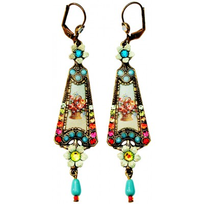 Michal Negrin Multicolor Turquoise Victorian Triangle Earrings