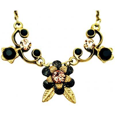 Michal Negrin Black Gold Flower Necklace