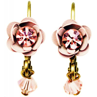 Michal Negrin Antique Pink Rose Beads Earrings