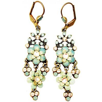 Michal Negrin Sea Green Champagne Chandelier Earrings