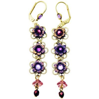 Michal Negrin Purple Lilac Triple Flowers Earrings