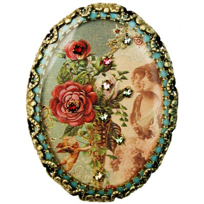 Michal Negrin Victorian Fantasy Oval Cameo Brooch
