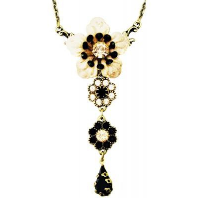 Michal Negrin Black Peach Flower Necklace