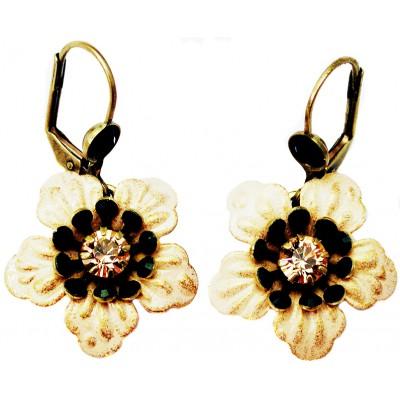 Michal Negrin Black Peach Anemone Earrings