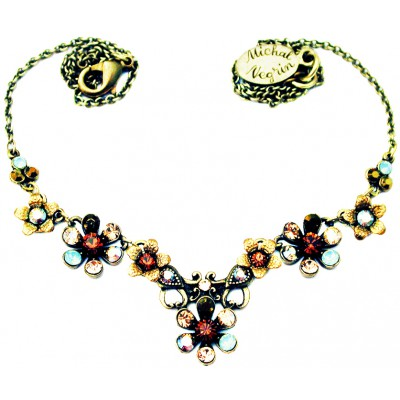 Michal Negrin Bronze Sea Green Gold Flowers Necklace