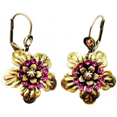 Michal Negrin Fuchsia Gold Anemone Earrings