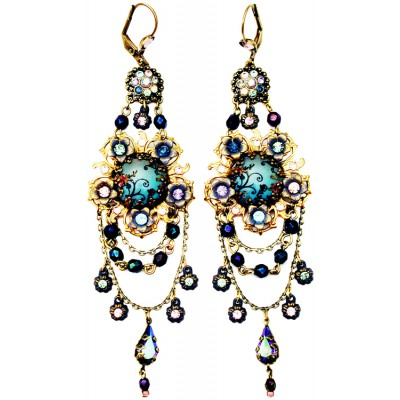 Michal Negrin Antique Cameo Crystal Earrings