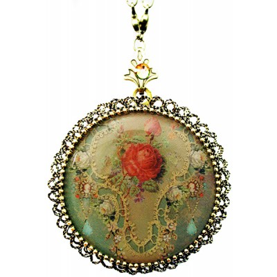 Michal Negrin Victorian Rose Cameo Locket Necklace