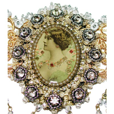 Michal Negrin Silver Woman Cameo Choker Necklace
