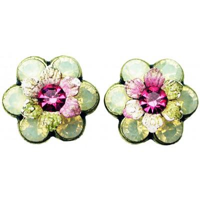 Michal Negrin Cream Pink Green Tiedye Crystal Flower Stud Earrings