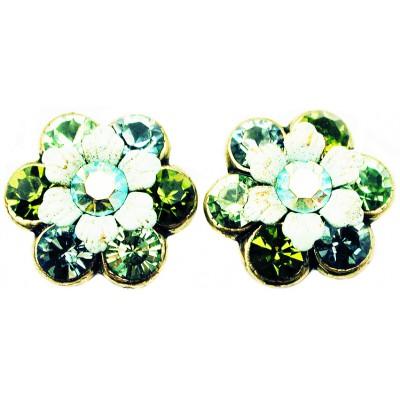 Michal Negrin Green Swirl Crystal Flower Stud Earrings