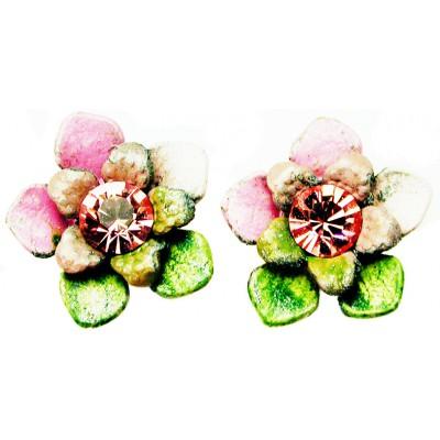 Michal Negrin Pink Green Tiedye Flower Stud Earrings