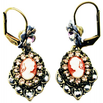 Michal Negrin Silver Lilac Woman Cameo Earrings