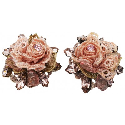 Michal Negrin Lilac Rose Lace Clip On Earrings
