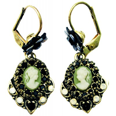 Michal Negrin Black Grey Woman Cameo Earrings