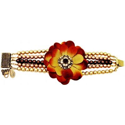 Michal Negrin Fabric Flower Beads Strands Bracelet