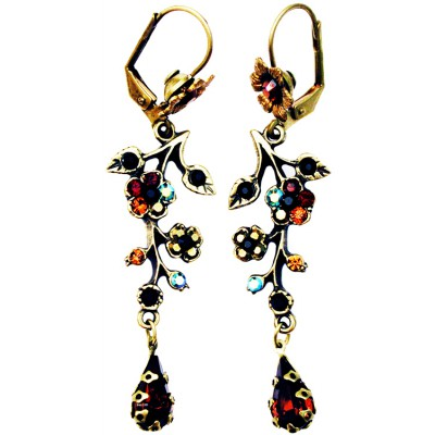 Michal Negrin Black Garnet Bronze Cherry Blossom Tear Earrings