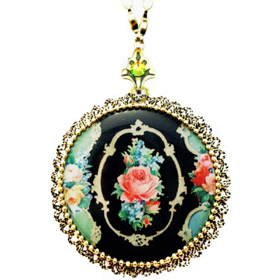 Michal Negrin Antique Rose Cameo Locket Necklace