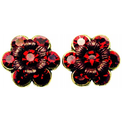 Michal Negrin Red Crystal Flower Stud Earrings