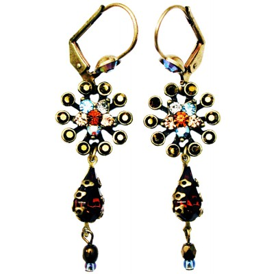 Michal Negrin Bronze Aqua Peach Starburst Earrings