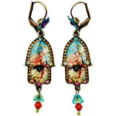 Michal Negrin Antique Style Cherub Hamsa Earrings