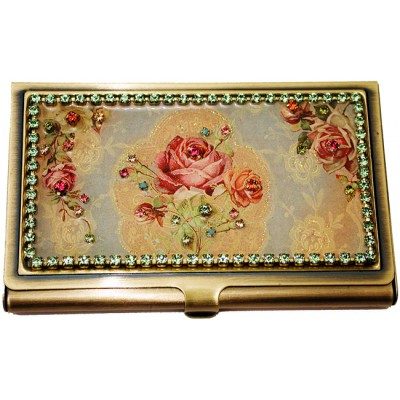 Michal Negrin Victorian Roses Business Card Case