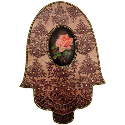 Michal Negrin Vintage Rose Cameo Wall Decor Hamsa