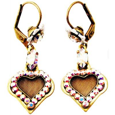 Michal Negrin Aurora Borealis Crystal Heart Earrings