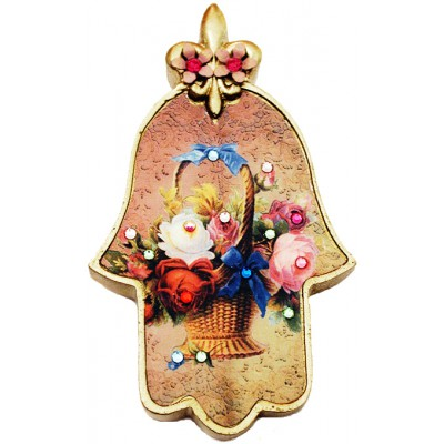 Michal Negrin Multicolor Roses Wall Hamsa