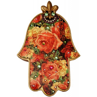 Michal Negrin Antique Roses Large Wall Hamsa