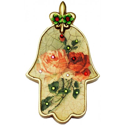 Michal Negrin Antique Roses Wall Hamsa