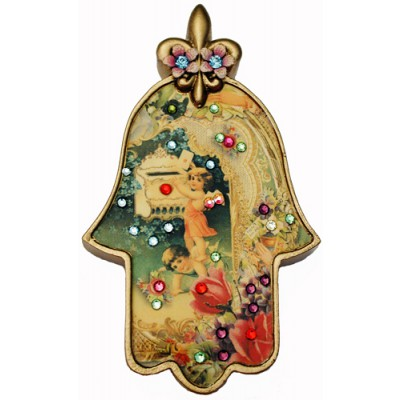 Michal Negrin Antique Style Cherubs Wall Hamsa