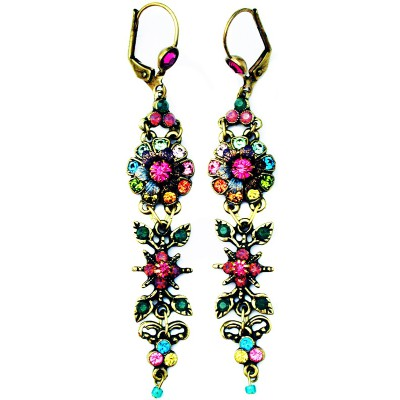 Michal Negrin Multicolor Antique Floral Earrings