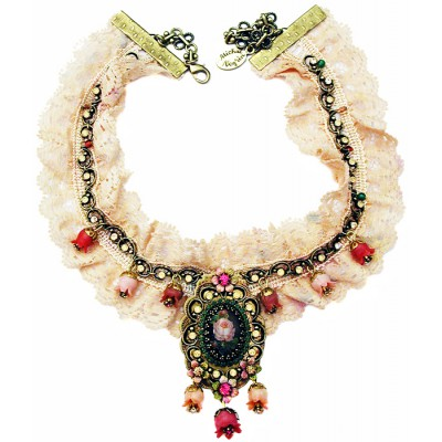 Michal Negrin Pink Heritage Lace Necklace