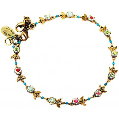 Michal Negrin Multicolor Crystal Beads Floral Anklet